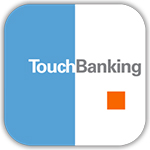 Blue and white Touch Banking Icon